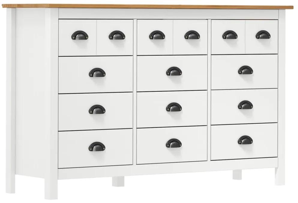 288990 vidaXL Servantă Hill Range, alb,130 x 37 x 80 cm, lemn masiv de pin