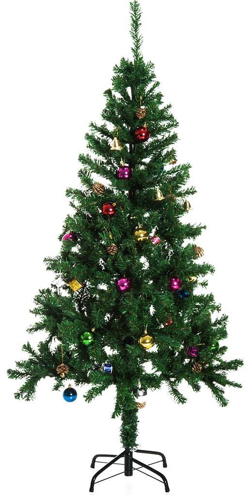 HomCom Brad de Crăciun 180 cm cu Globuri și Decorațiuni din PVC, Fier