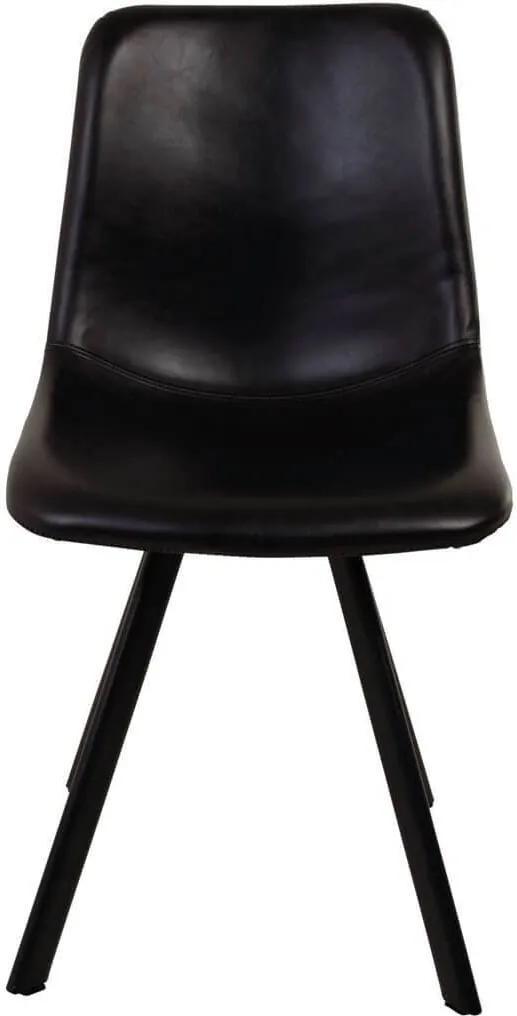 Scaun Negru din Piele CARL - Piele Negru Lungime(46 cm) x latime(54 cm) x Inaltime(88.5 cm)