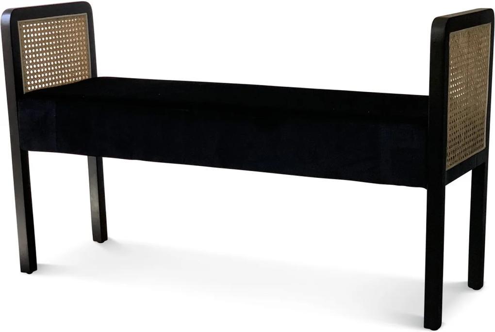 Bancheta SYDNEY Neagra din Catifea si Lemn 109cm OPJET PARIS - Catifea Negru Lungime (109cm) x Latime (35cm) x Inaltime (64.5cm)
