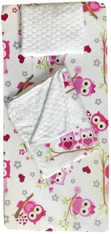 Deseda - Set 3 piese de iarna paturica cu cearsaf si pernuta pentru pat 120x60 cm  Bufnite roz