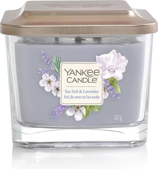 Yankee Candle parfumata lumanare Sea Salt & Lavender pătrata mijlocie 3 fitile