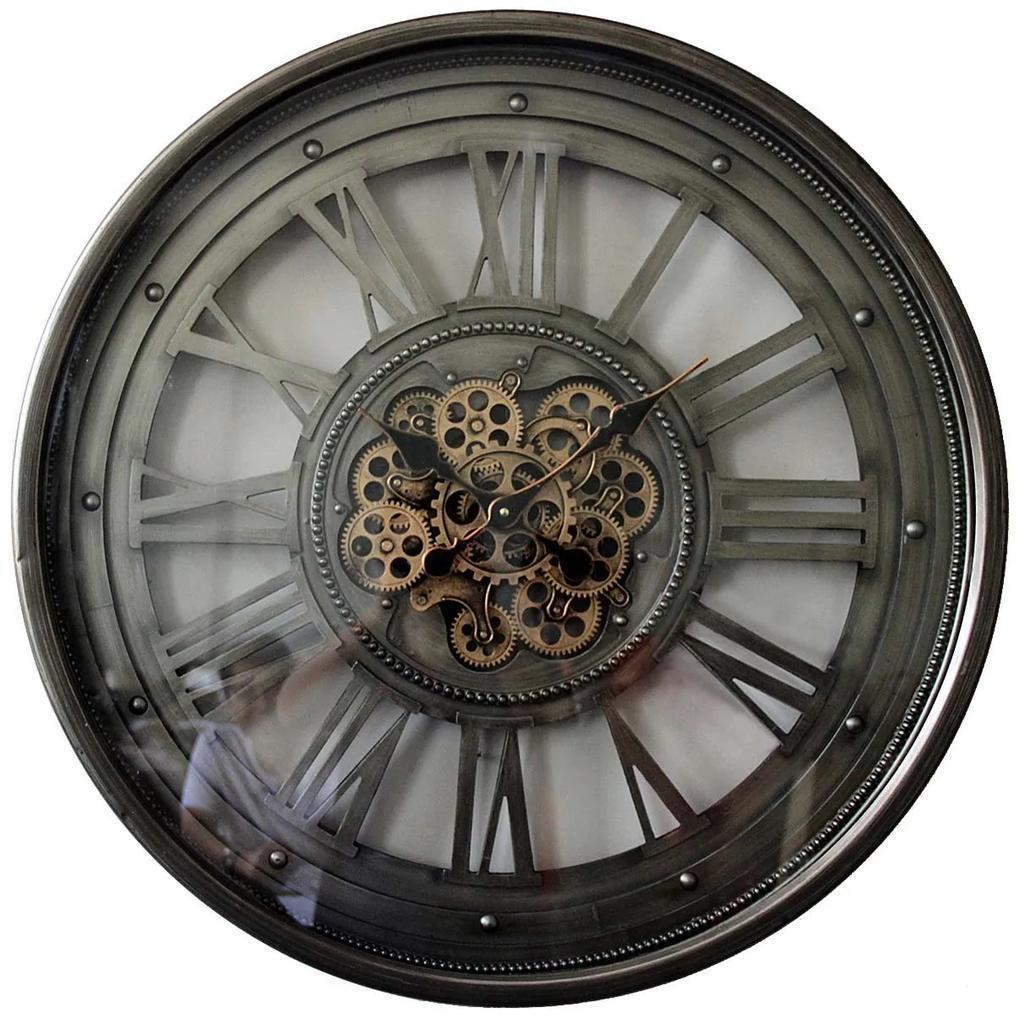 Ceas de perete metal si sticla argintiu 80cm