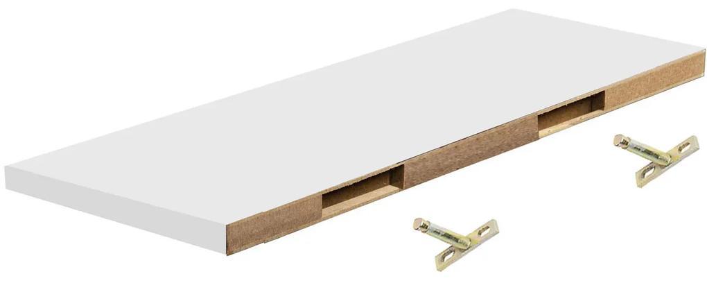 Polita perete cu suport fixare ascuns, 118x19x1.8 cm, Alb