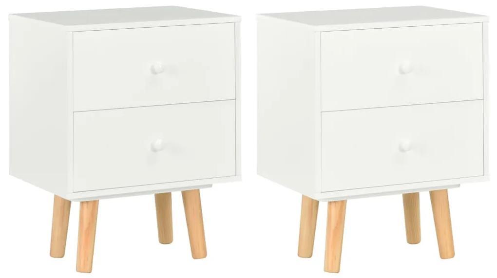 285224 vidaXL Noptiere, 2 buc., alb, 40 x 30 x 50 cm, lemn masiv de pin