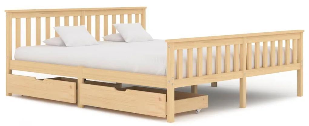 3060341 vidaXL Cadru de pat cu 2 sertare, 180 x 200 cm, lemn masiv pin