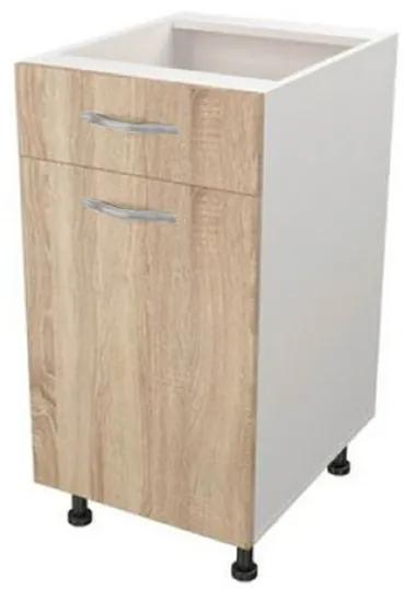 Corp de bucatarie cu sertar, 40x50x80 cm, PAL Alb/Stejar