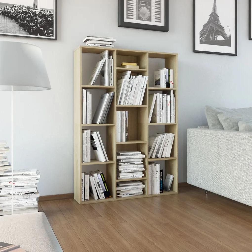 800444 vidaXL Separator cameră/Bibliotecă, stejar Sonoma, 100x24x140 cm, PAL