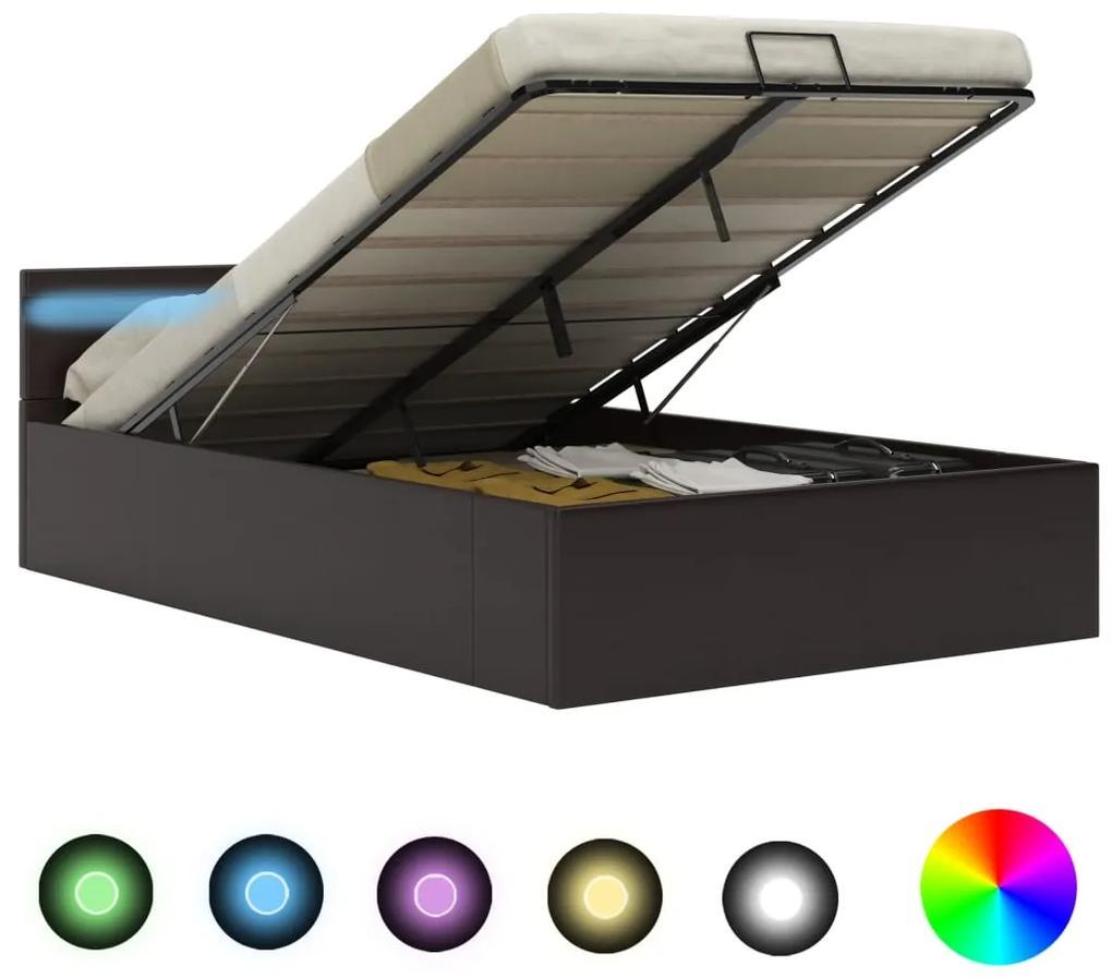 285555 vidaXL Cadru pat hidraulic ladă și LED gri 140x200 cm piele ecologică
