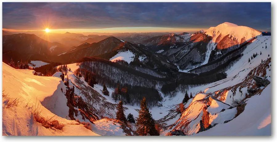 Tablou sticlă acrilică Iarna în munți