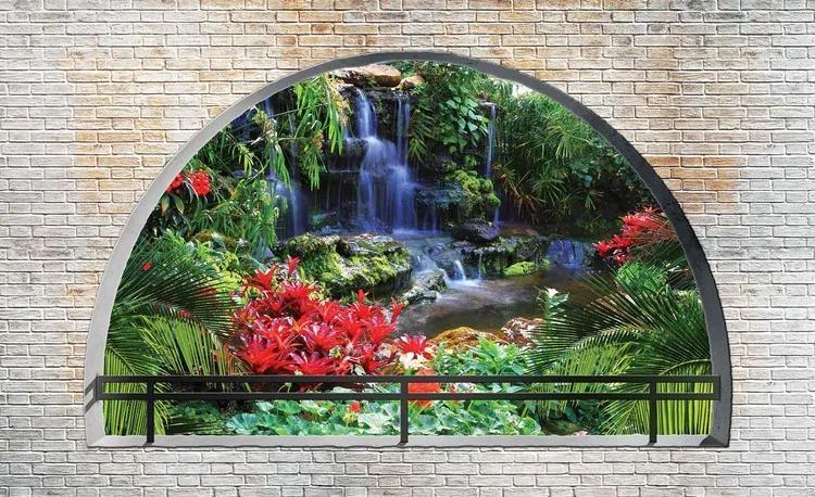 Waterfall Lake Arch View Fototapet, (312 x 219 cm)