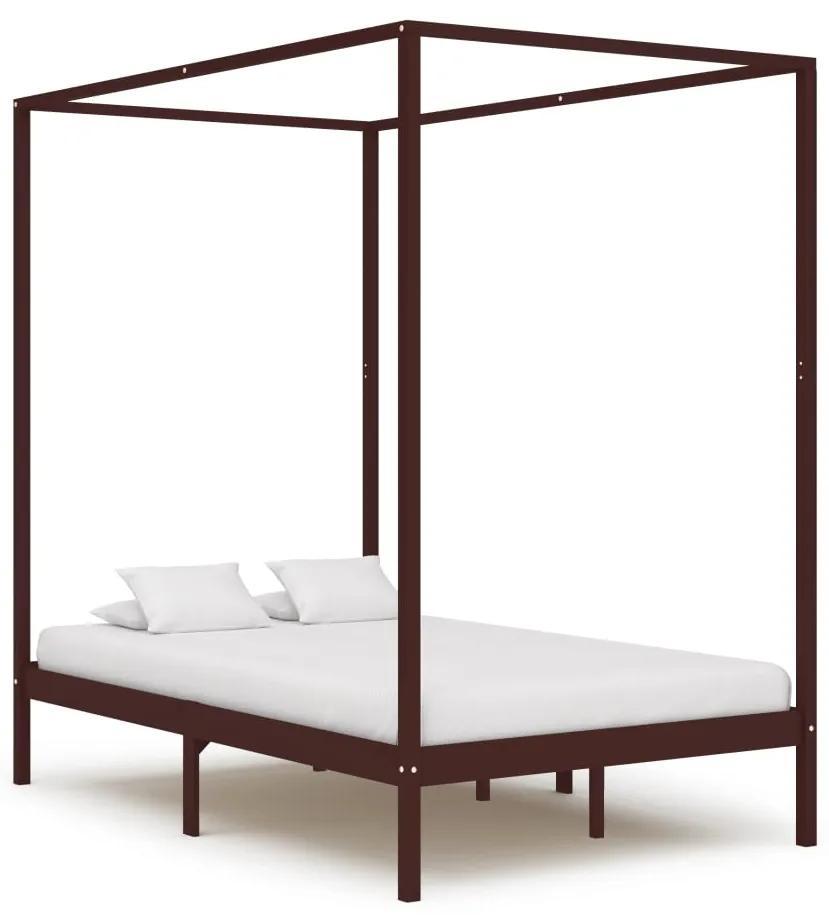 283270 vidaXL Cadru pat cu baldachin, maro închis, 120x200 cm, lemn masiv pin