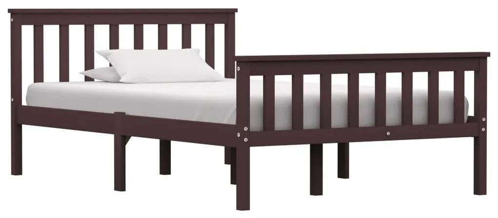 283234 vidaXL Cadru de pat, maro închis, 120 x 200 cm, lemn masiv de pin