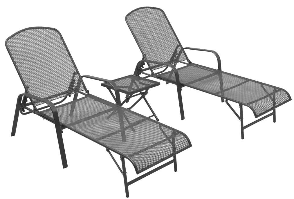 310158 vidaXL Șezlonguri de plajă cu masă, 2 buc., antracit, oțel