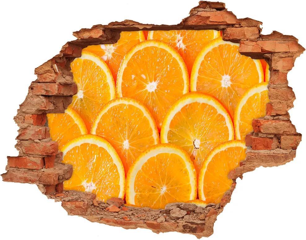 Fototapet un zid spart cu priveliște Felii de portocale