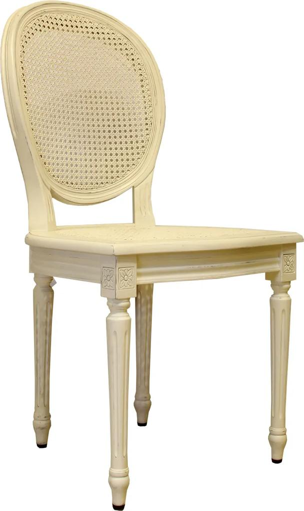 Scaun Louis din lemn crem 47x40x93 cm