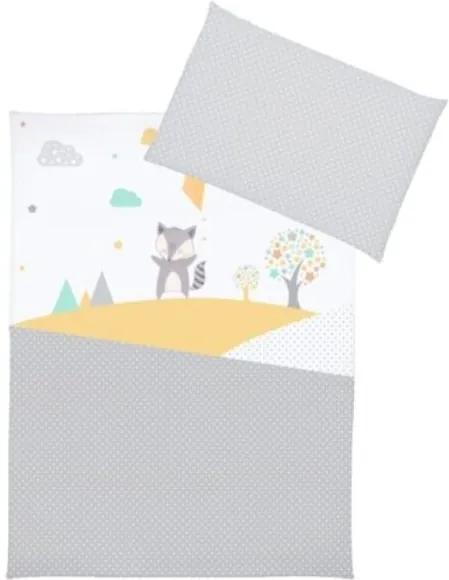 Klups - Lenjerie 3 piese Raccoon din Bumbac, 135x100 cm