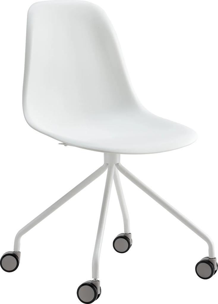 [en.casa]® Scaun birou cu roti retro - 83 x 47cm - alb