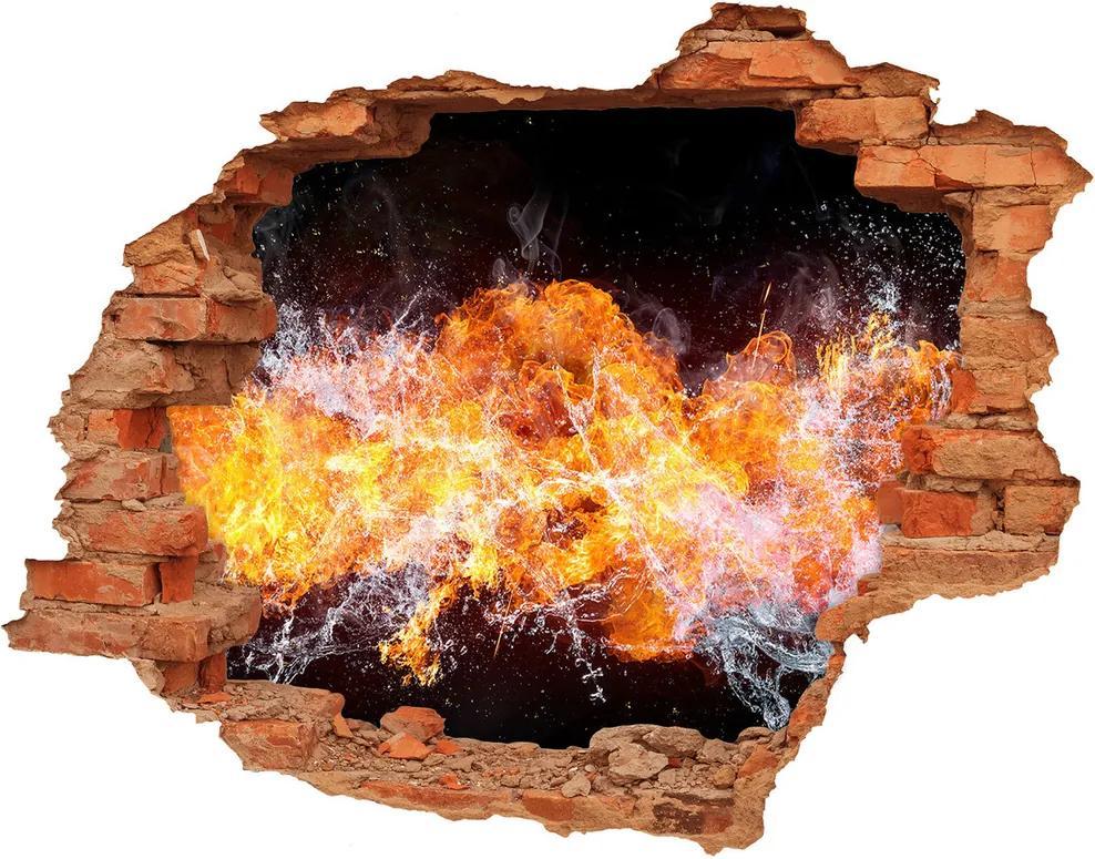 Autocolant un zid spart cu priveliște Foc versus apa