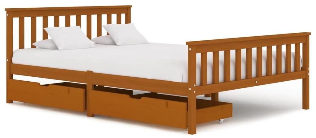3060531 vidaXL Cadru de pat cu 2 sertare, maro miere 140x200 cm lemn masiv pin