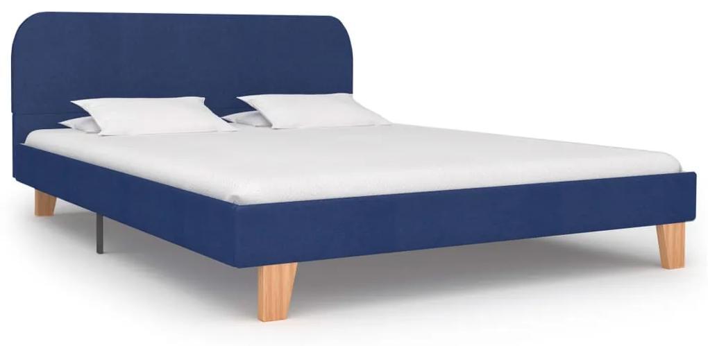 280878 vidaXL Cadru de pat, albastru, 140 x 200 cm, material textil