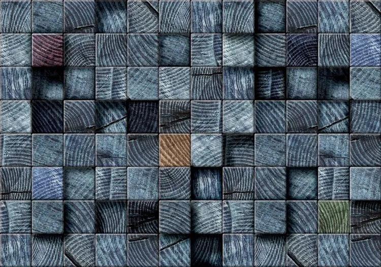 Wood Blocks Texture Dark Grey Fototapet, (152.5 x 104 cm)