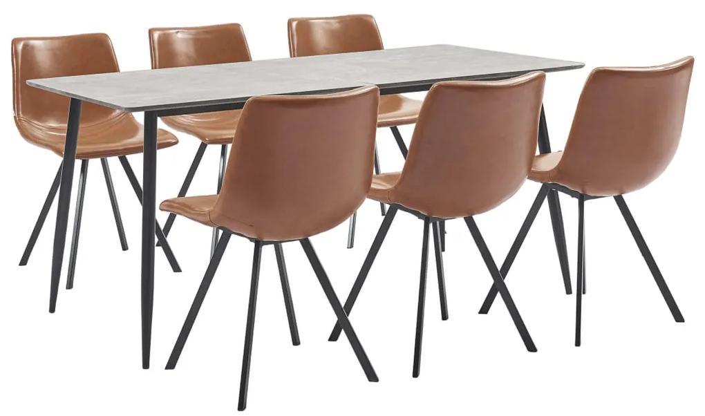 3050983 vidaXL Set mobilier de bucătărie, 7 piese, coniac, piele ecologică