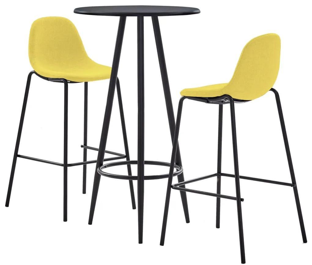 279754 vidaXL Set mobilier bar, 3 piese, galben, material textil
