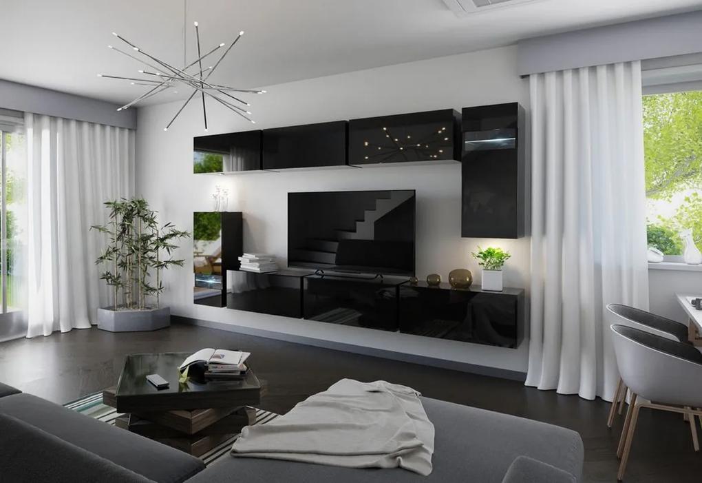 Expedo Mobilă sufragerie ELPASO 3 + LED, negru/negru luciu