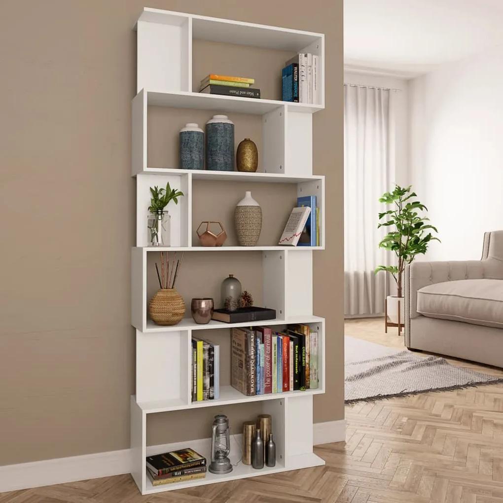 800090 vidaXL Bibliotecă/Separator cameră, alb, 80 x 24 x 192 cm, PAL