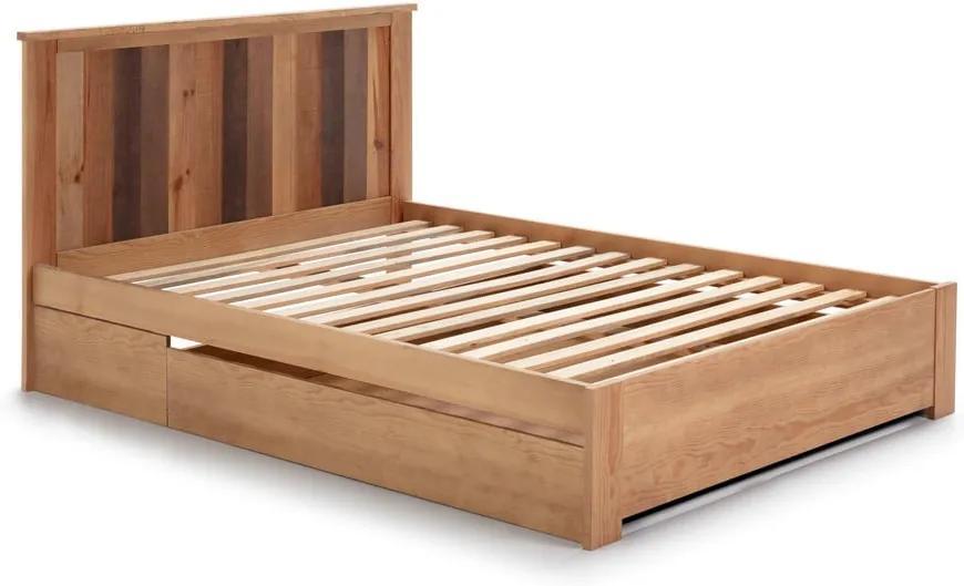 Pat cu sertar și picioare din lemn de pin Marckeric Maude, 140 x 190 cm