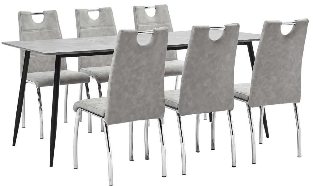 3051003 vidaXL Set mobilier de bucătărie, 7 piese, gri deschis, piele ecologică