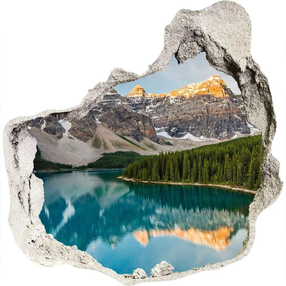 Autocolant un zid spart cu priveliște Lacul în munți