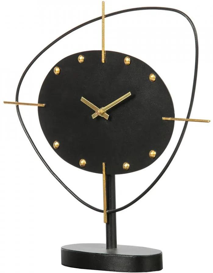 Ceas negru rotund de masa din fier 33x35 cm Clock