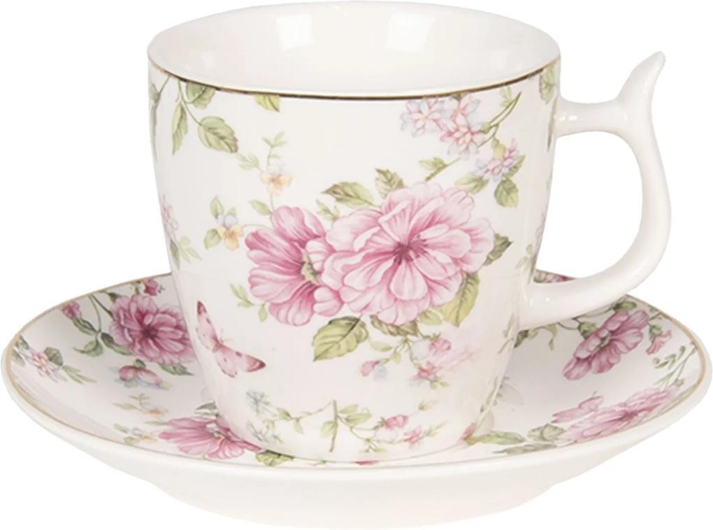 Ceasca cu farfurioara portelan verde roz Roses Ø 7 x 7 cm 0,16 L