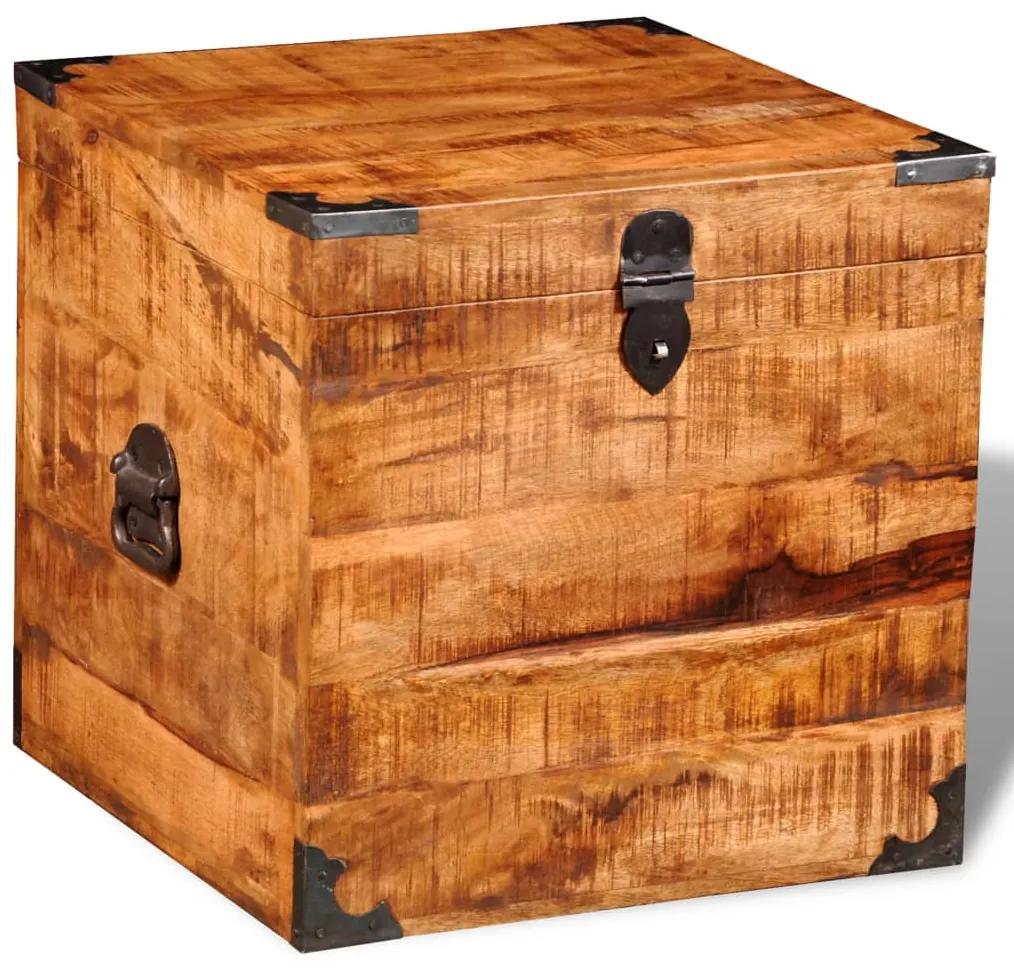 241636 vidaXL Cufăr de depozitare tip cub, lemn de mango nefinisat