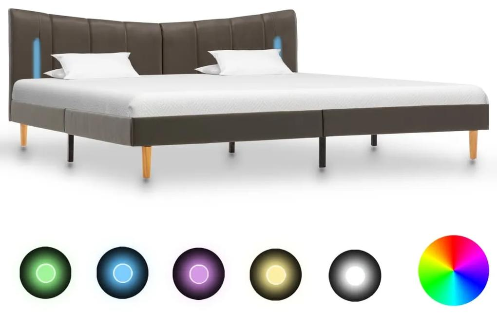 288547 vidaXL Cadru de pat cu LED, antracit, 160 x 200 cm, piele ecologică