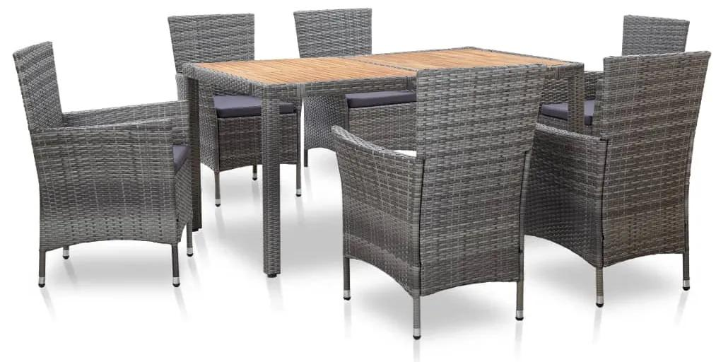 46021 vidaXL Set mobilier de exterior cu perne, 7 piese, gri, poliratan