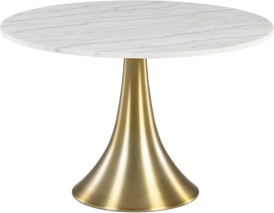 Masă de dining rotundă cu aspect de marmură La Forma, ø 120 cm, alb