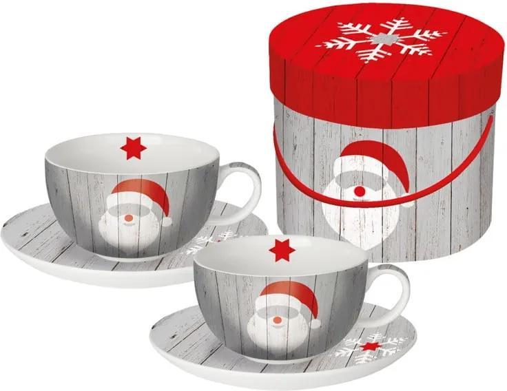 Set 2 căni pentru cappuccino în cutie de cadou PPD Santa On Wood, 200 ml