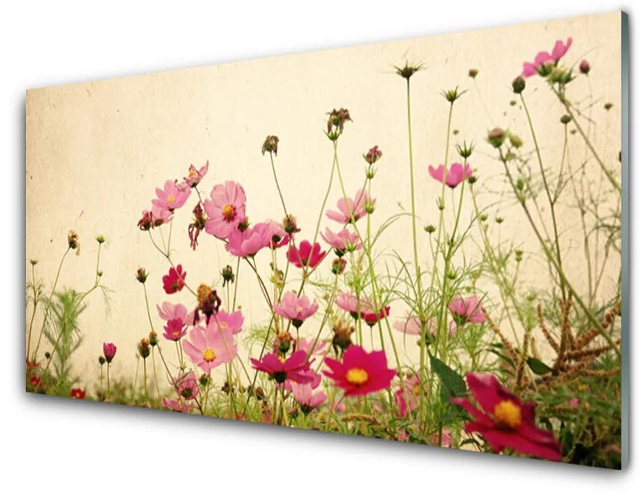 Tablou pe sticla acrilica Flori Floral Roz Roșu