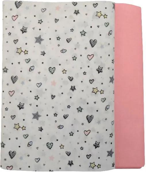 Set cearceafuri Stelute cu roz cu elastic pentru saltea 63 x 127 cm