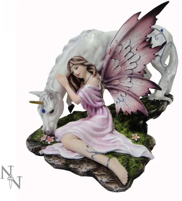 Statueta zana si unicorn Calmina 25.5 cm