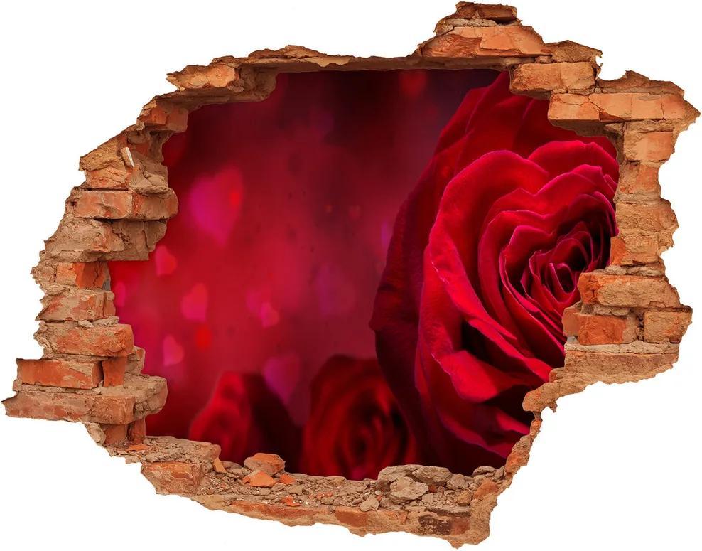 Autocolant un zid spart cu priveliște Inima trandafir rosu