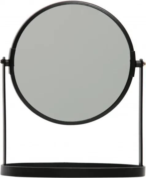 Oglinda rotunda cu rama din fier neagra Yentl, 24x19x12 cm