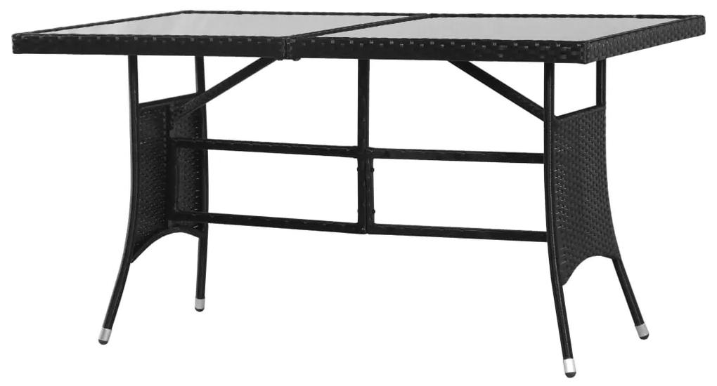 43931 vidaXL Masă de grădină, negru, 140 x 80 x 74 cm, poliratan