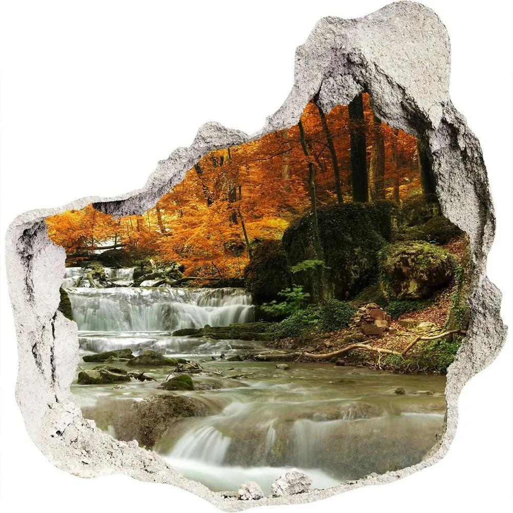 Autocolant 3D gaura cu priveliște Cascada din pădure