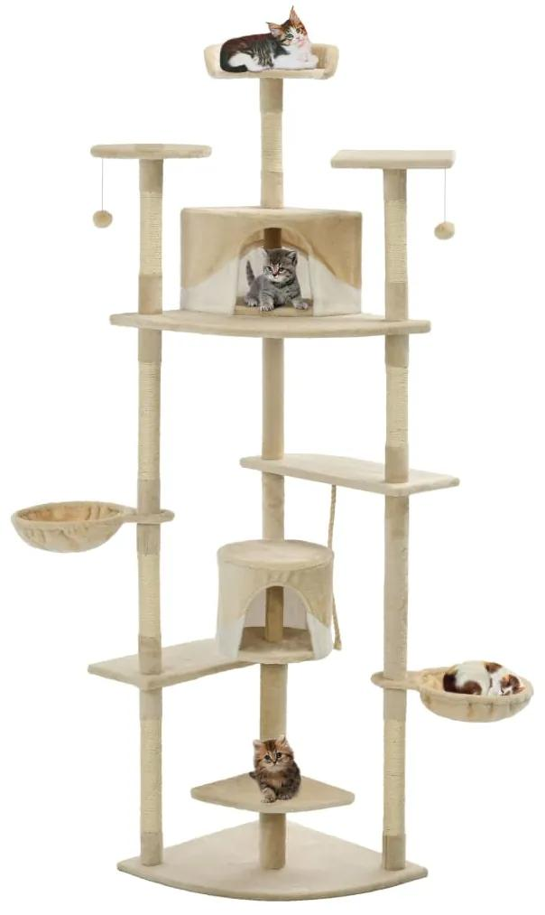 170527 vidaXL Ansamblu pisici cu stâlpi din funie sisal, 203 cm, bej și alb
