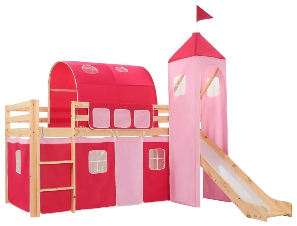 282712 vidaXL Cadru pat etajat copii cu tobogan & scară 208x230 cm lemn pin