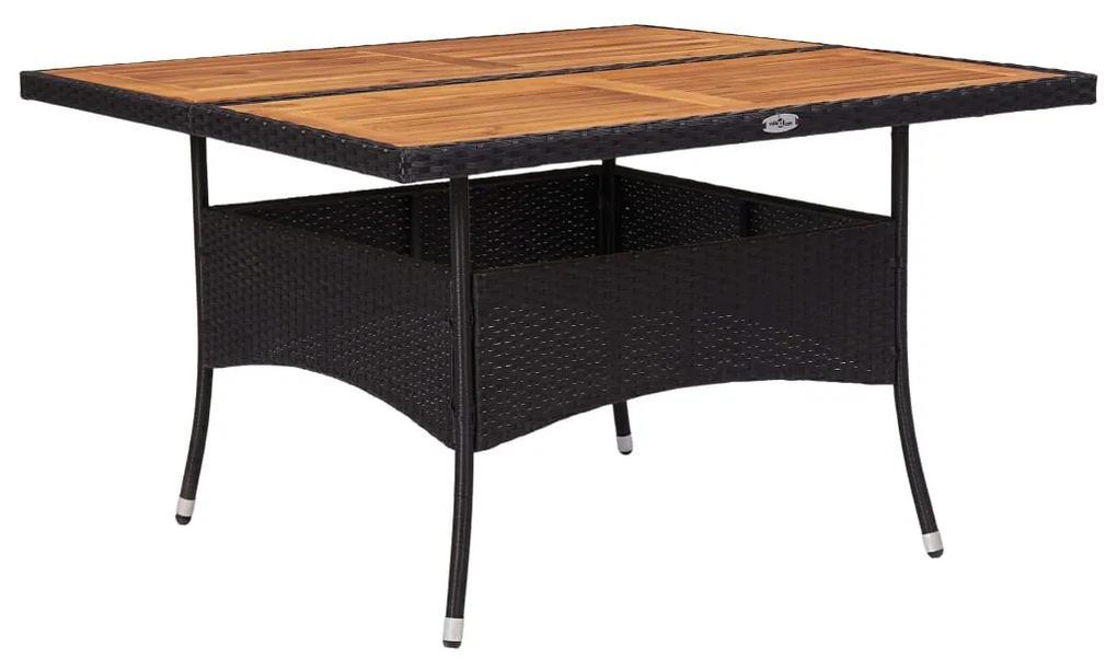 46187 vidaXL Masă de exterior, negru, poliratan și lemn masiv de acacia